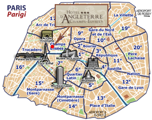 Hotels Paris, Carte
